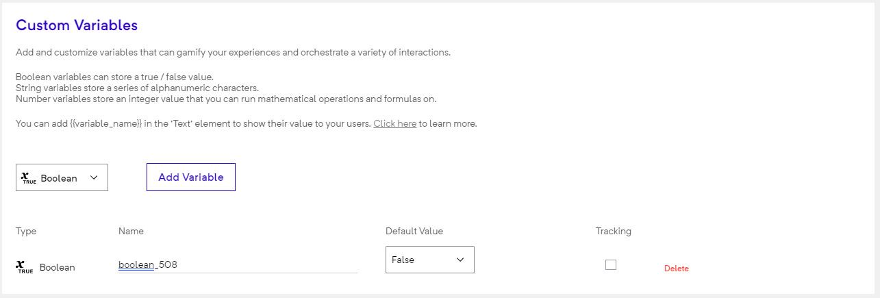 Experience settings variables
